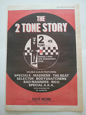 SPECIALS / MADNESS/ BEAT 2 TONE Story 1989 UK Press ADVERT 16x12 inches