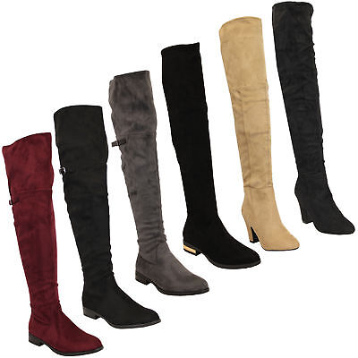 Ladies Womens Boots Long Over The Knee Suede Look Shoes Casual Fashion Winter