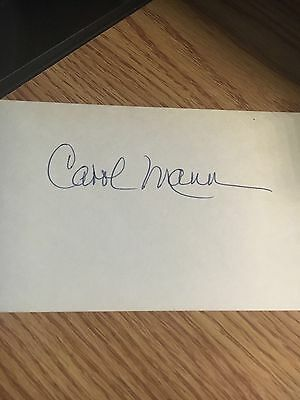Carol Mann Hall of Famer  Signed 3x5 index Card