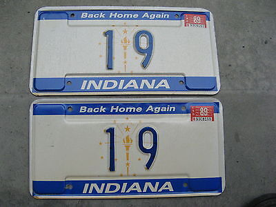 1989 89 Indiana In License Plate Pair Two Digit Rare #19 State To Enter Union