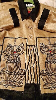 Vtg Anage Long Sleeve Metallic Embroidery Jacket Cats Beige Textured Sz Med NOS