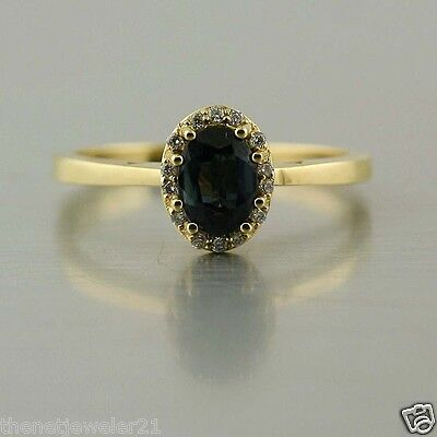 Natural Oval Blue Sapphire Diamond Solitaire Ring 18K Yellow Gold