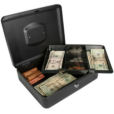 BARSKA 12 Inch Large Steel Cash Box Safe w/ Key Lock and Removable Tray, CB11834