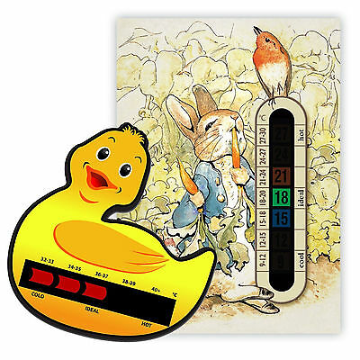 Peter Rabbit Nursery Room Thermometer & Duck Bath Thermometer pack - Moving Line