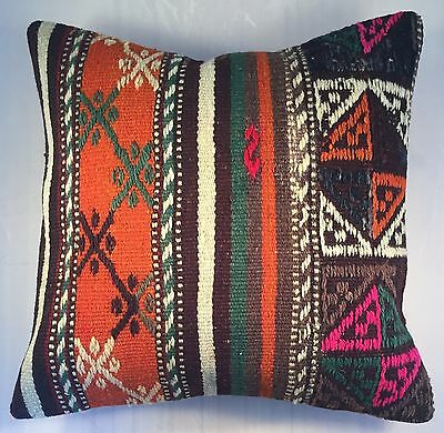 Rug Kilim Pillow Cover 16x16 Vintage Turkish Kilim Cushion  Cover US Seller #91