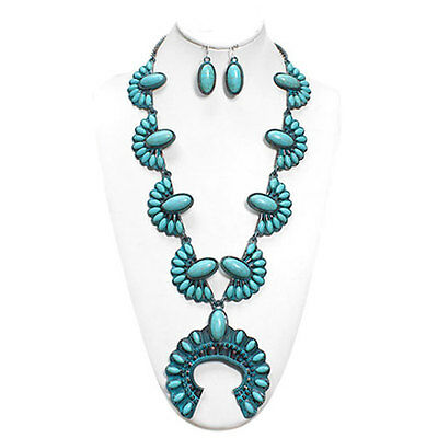 NWT Squash Blossom Faux Turquoise Necklace Vintage Tone