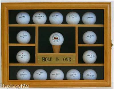 Nice Gift, 15 Golf Ball Display Case Holder Wall Cabinet, Solid Wood, G004-OA