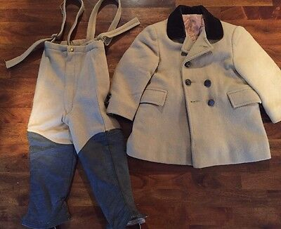 Vintage FIELDSTON BOYS Brown WOOL COAT PANTS LEATHER LEGGINGS Size 2t 3t Riding