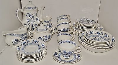 40 Pieces Vintage Blue Nordic Hand Engraving Ironstone Johnson Brothers Dish Set