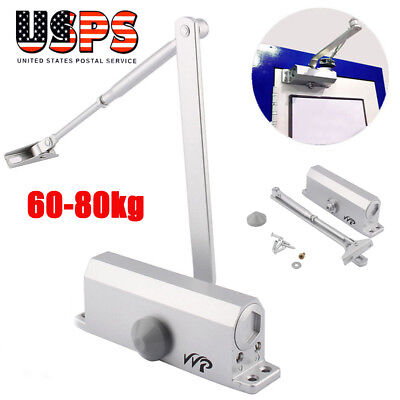 60-80KG Silver Aluminum Commercial Door Closer Two Independent Valves Control
