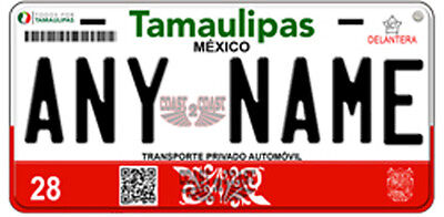 Tamaulipas  Mexico Auto Novelty License Plate 2016 NEW RED TAMPS placa
