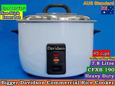 Davidson Big Commercial Rice Cooker 45 cups/7.8L (15 Amp) -Keep Warm CFXB190 NEW