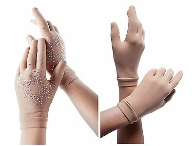 SKATING GLOVES BY INTERMEZZO-PLAIN OR WITH CrYsTaLs!...FLEECE LINED, SKIN TONE.