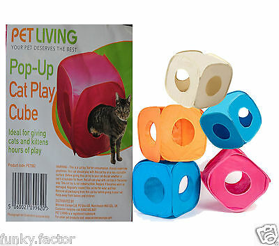 Branded Pet Living Pop Up Cat Kitten Play Cube Fun Strong Box For Cat Rabbit Toy • EUR 5,11