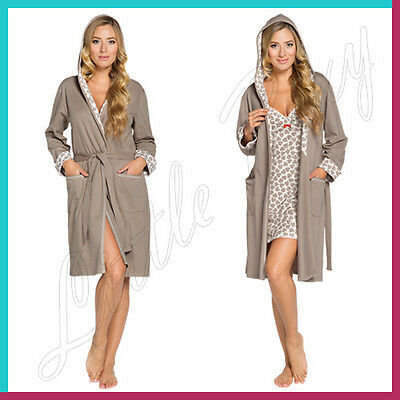 Comfy and Stylish Hooded Maternity Robe Womens Ladies Dressing Gown Bath Wrap