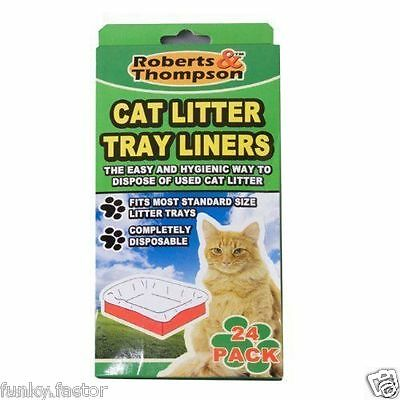 24 Pack Cat Litter Tray Liners Hygienic Disposal Of Cat Waste