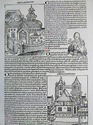 Incunable Leaf Schedel Liber Chronicorum Order Carmelite - 1493