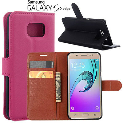 Pu Leather Stand Walet Skin Protector Flip Case cover For Samsung Galaxy S6 edge