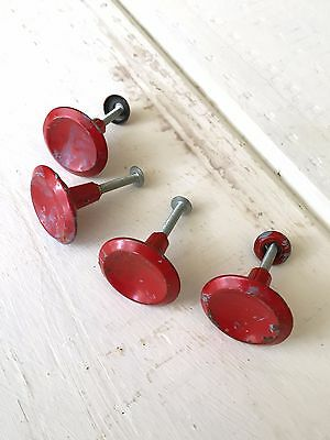 Lot of 4 Super Cool Chippy Paint Red Drawer Pulls, Hardware, Vintage Handles