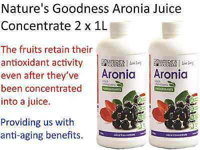 2 x 1 Litre NATURES GOODNESS Aronia Juice Concentrate ( Black Chokeberry )