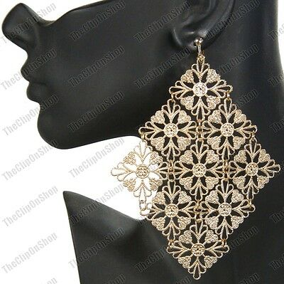 HUGE 13cm big CLIP ON EARRINGS gold plated PRETTY METAL LACE vintage style CLIPS
