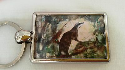 Moonlight Badger Painting Key Ring