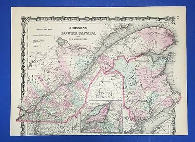 Johnson's Lower Canada - Antique Map In Colour - 1864