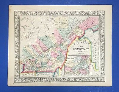 Map Of Canada East In Counties - Antique Map In Colour - Mitchell 1861