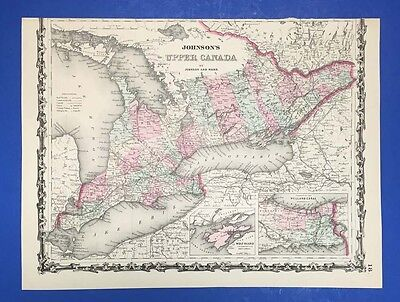 Johnson's Upper Canada - Antique Map In Colour - 1864