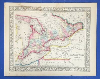 Map Of Canada West In Counties - Antique Map In Colour - Mitchell 1861
