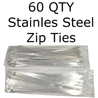 """60 Stainless Steel 14"""" Cable Zip Ties Metal Self Locking Straps Exhaust Bands"""