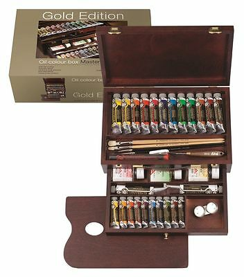 Rembrandt Artists Quality Oil Colour Paint Gold Edition Wooden Box Master Set