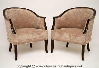 Pair Of Antique Swedish Satin Birch Upholstered Armchairs