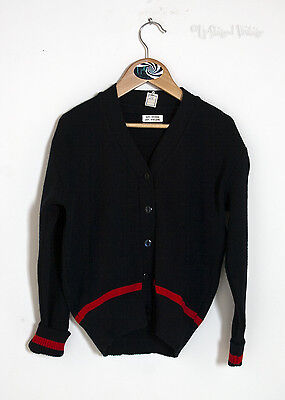 "Vintage Retro 1970s Childrens Navy Blue and Red Cardigan 28"" Chest - FREE UK P&P"