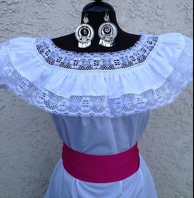 Mexican Blouse White Adelita On/Off Shoulder w/Small Pink Sash. Blusa Adelita