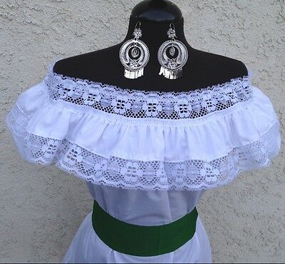 Mexican White Adelita Blouse On/Off Shoulder w/Small Green Sash. Blusa Adelita