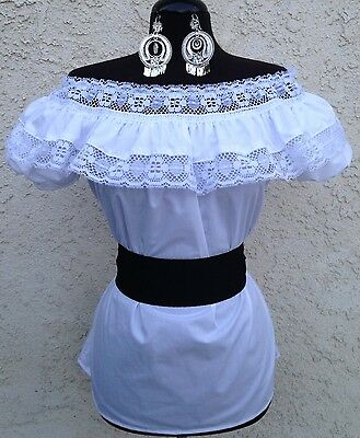 Mexican White Adelita Blouse On/Off Shoulder w/Small Black Sash. Blusa Adelita