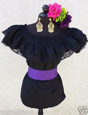 Mexican Blouse Black Adelita On/Off Shoulder w/Small Purple Sash. Blusa Adelita