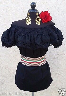 Mexican Black Adelita Blouse On/Off Shoulder w/Small Tricolo Sash.Blusa Adelita