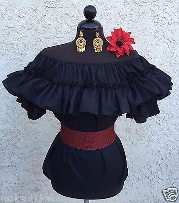 Day Of The Dead Gorgeous White Mexican Off Shoulder Peasant Blouse