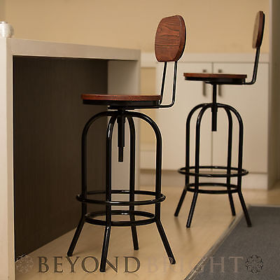 2x Metal Bar Stool ARI with BACK Chair Swivel Adjustable Stools BLACK Industrial