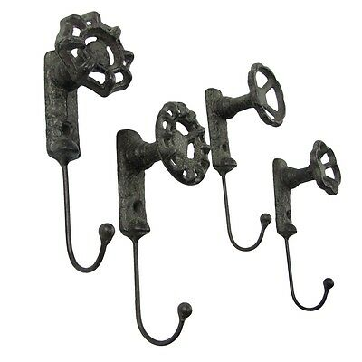 Antique Style Garden Spigot Faucet Handle Wall Mount Hook Set 4 Key Ring Hooks