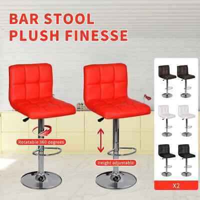 White/Black/Red/Brown 2 pcs PU Leather Bar Stool Kitchen Cafe Chair Gas Lift