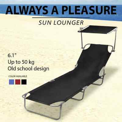 Blue/Black/Red Outdoor Foldable Sun Lounger Bed Reclining Beach Chair Shade Roof