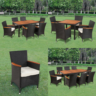 8/6/4 Person Wicker Rattan Outdoor Dining Set Table Chairs Garden Furniture