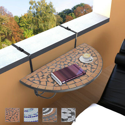 4 Colours Mosaic Balcony Desk Side Coffee Hanging Table Folding Semi-Circular
