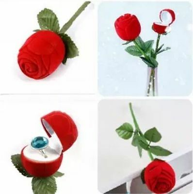2016 Rose With Branch Wedding Ring Earring Pendant Jewelry Display Gift Box Red