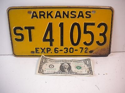 Vintage 1972  USA License Tag State of Arkansas  License Plate