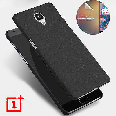 Sandstone Matte Hard Slim Back Case Cover For OnePlus 3 3T + Screen Protector