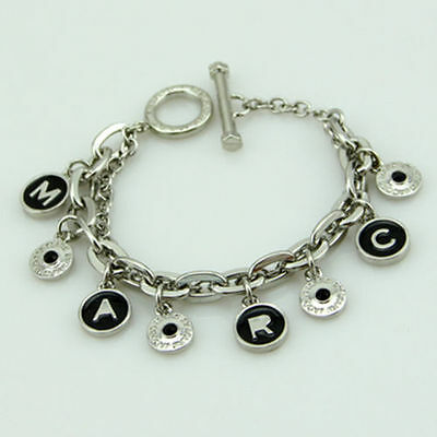Hot sale! Marc by Marc Jacobs Silver Big Letters Black Disc Bracelet #B3095